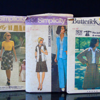 1970s Fashion 3 Sewing Patterns Simplicity No 6336 No 7451 Butterick No 3880 Cropped Jacket / Wrap Skirt / Dress or Top / Pants and Vest