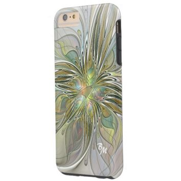 Floral Fantasy, Abstract Fractal Art Monogram Tough iPhone 6 Plus Case