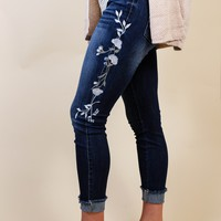 Floral Embroidered Jeans, Dark Blue
