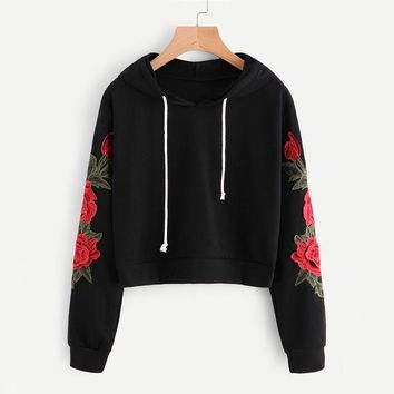 Embroidered  Autumn Long Sleeve Casual Pullovers Women Black Sweatshirt