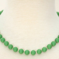 "Vintage Bright Kelly Green Plastic Necklace from 1960s or 1970s - 18"" Plastic Beaded Necklace"