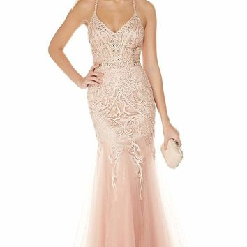 Alyce Paris - 5016 Embellished Lace Tulle Trumpet Gown