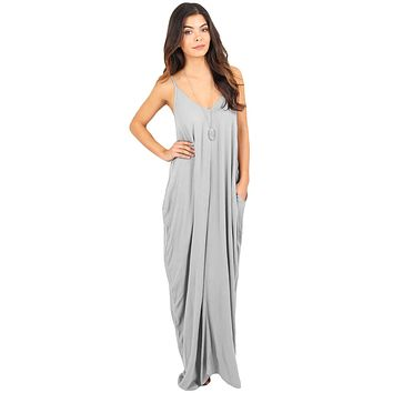 Gray Boho Pocketed Maxi Dress