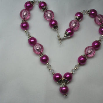 Fuschia Pink Pearl Necklace