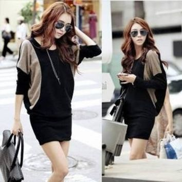 2013 Plus Size Batwing Sleeve Slim Knitted One Piece Dress Long Sleeve Winter One Piece Dress = 1946889220