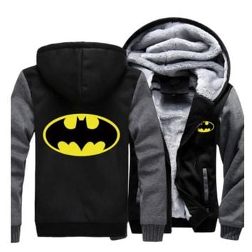 US size for Hoodies Men Women Batman Zipper Jacket Sweatshirts Thicken Hoodie Coat Clothing Casual