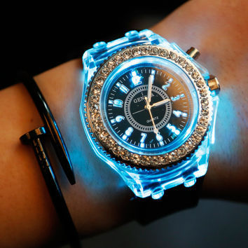 Designer's Good Price New Arrival Gift Trendy Great Deal Awesome Noctilucent Lightning Rhinestone Korean Stylish Fashion Couple Watch [8655151815]