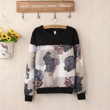 Floral Print Color Block Long Sleeve Sweater