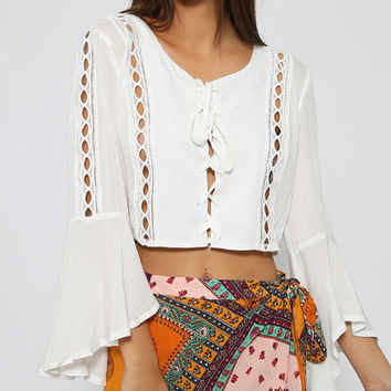 White Lace Up Front Cut Out Trim Flare Sleeve Crop Blouse