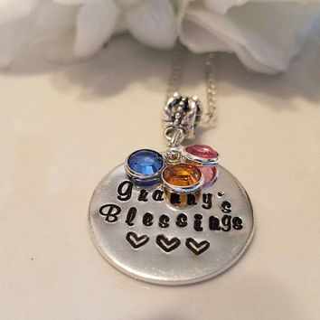 Grandmother Granny Grandma Necklace Birthstone Personalized Necklace Gift
