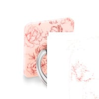 Nude Red Chrome Floral Phone Ring