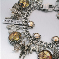 Charm Bracelet Beauty and the Beast Fairytale by BlackberryDesigns