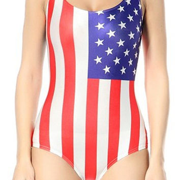 USA Flag One-Piece Women's Swimsuit Design 5015