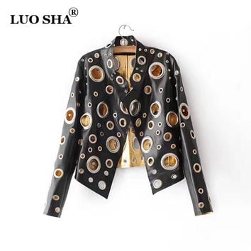 2017 Fashion Women's Spring Jacket PU Women Bomber Jacket Hollow Out Silver Golden Jacket Punk for Femme Blouson Femme TM322