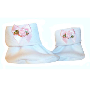 Baby Girls' White Booties with Pink Satin Rose Bow