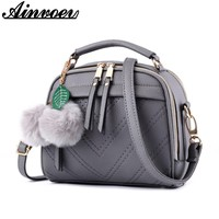 Ainvoev PU Leather Women Messenger Bags Double Zipper Women handbags School Shoulder Bags High Quality Crossbody bag Bolsa a1053