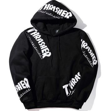 ONETOW Tagre? Thrasher Print Hip-Hop Top Sweater Hoodie