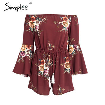 Simplee Off shoulder floral print jumpsuit romper women Tassel summer beach overalls 2017 Streetwear flare sleeve playsuit