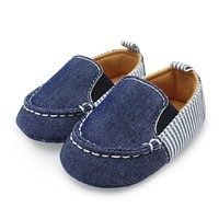 Toddlers Boys Girls First Walkers Denim Striped Slip-On Casual Shoes Infant Baby Shoes 0-12M