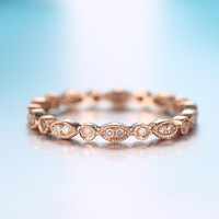 Full Eternal Solid 18k Rose Gold SI/H Natural Diamonds Engagement Ring Wedding Band Filigree Art Deco Women Antique Jewelry