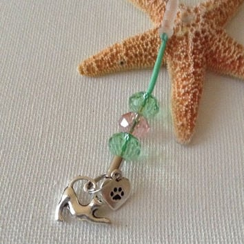 I love my cat cell charm, cat cell charms, gifts for cat lovers, cell phone dust plugs
