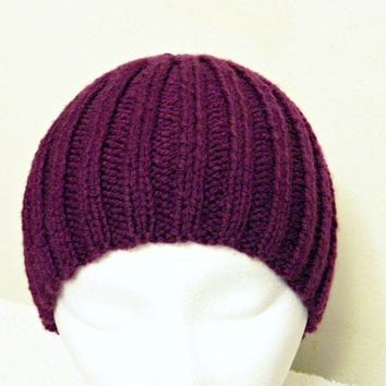 Purple Ribbed Knit Beanie