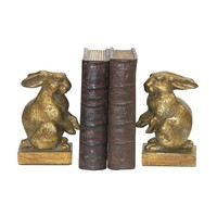 Pair Of Baby Rabbit Bookends Gold