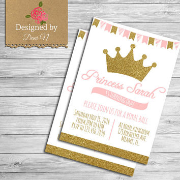 Princess Birthday Party INVITATION, glitter sparkle printable invite, crown pink and gold, first birthday, Any Age Birthday Party