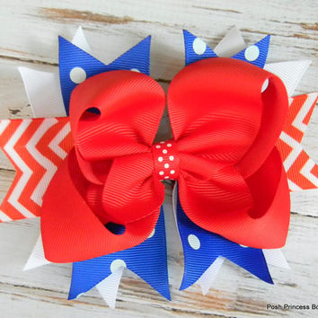 Red White and Blue Chevron Hair Bow, Cheer Bow, Team Colors, Girls, Babies, Toddlers, Hair Accessories