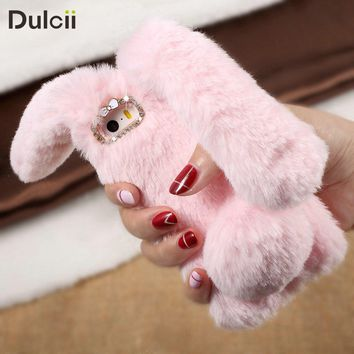 Dulcii coque fundas For iPhone 7 7Plus 6 6s 6 Plus Case Bunny Shape Warm Fur TPU Cover Phone Case For iPhone X 5s SE 5