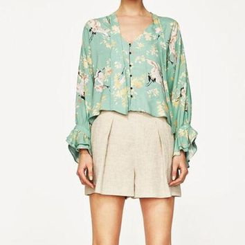 DCCKF4S WISHBOP 2017 Summer Mint Green Floral Animal Printed Shirt Blouse V-neck With BOW Long sleeved Frills Cuffs Front Buttons up