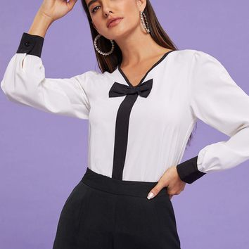 Black & White V-Neck Bow Front Contrast Cuff Blouse