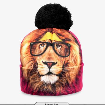 2017 New 3D Print Hats for Women Autumn and Winter Cap Multi Colors Warm Hat Fashion Lady Hats Ball Pom Skully Beanies PY212
