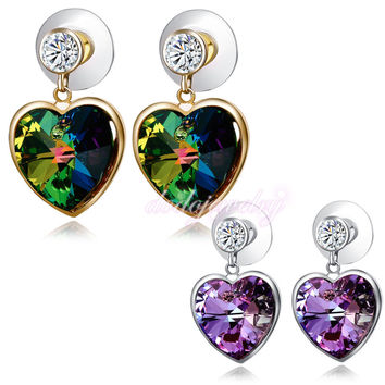 Fashion Love Heart Olive Green/Purple Crystal Earrings 18k Gold Plated Dangle/Drop Earring Jewelry Gift E907 E908
