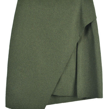 Green Asymmetric Mini Skirt