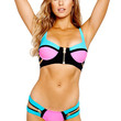 Rosy Color Block Bikini with Zip Decor