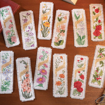 """Flowers Of The Month Bookmarks Counted Cross Stitch Kit-2.25""""""""X7.75"""""""" 14 Count Set Of 12"""