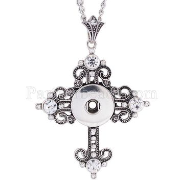 Metal snap necklace fit 18mm snap button jewelry ginger 25CM+7CM snaps necklace charms with cross pendant snaps jewelry KC0981