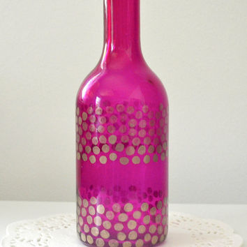 Painted Glass Bottle, Painted Glass Vase, Colorful Bottle, Polka Dot Vase, Home Decor, Window Decor