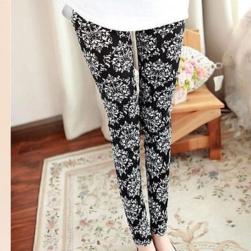 COCKCON Autumn Winter Women Sexy Slim Skinny Pencil Pants Striped Print Leggings Jeggings Multi Patterns Stretch Trousers