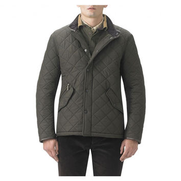 Powell Quilted Jacket in Olive Green by Barbour