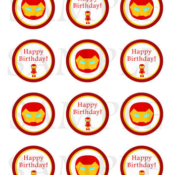 Ironman inspired Stickers, Cupcake Topper, Tags. Birthday Partys. Digital file