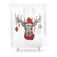 Society6 Christmas Deer Shower Curtain
