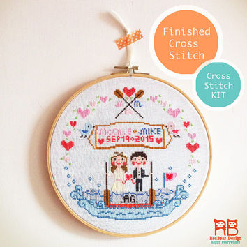 Wedding Portrait- Customized Cross Stitch Design - customer xstitch KIT/Finished cross stitch artwork wedding anniversary gift ideas