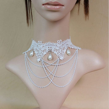 Lolita white lace pearl necklace exaggeration atmosphere clavicle jewelry wedding bride accessories (Color: White) = 1930316292