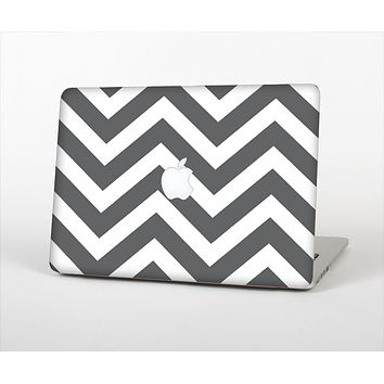 The Sharp Gray & White Chevron Pattern Skin Set for the Apple MacBook Pro 13""