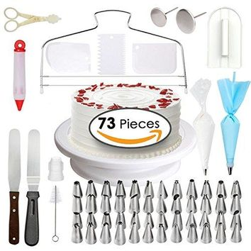 Cake Decorating Supplies - Professional Cupcake Decorating Kit | Baking Supplies | Rotating Turntable Stand, Frosting & Piping Bags and Tips Set, Icing Spatula and Smoother, Pastry Tools | 73 Pcs