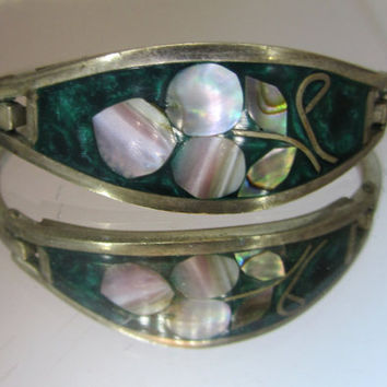 Vintage Jewelry Bracelet Silver Mother Of Pearl by DLSpecialties