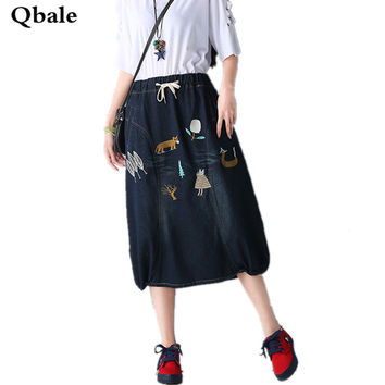 Qbale Summer Ladies Denim Skirts 2017 Female Chinese Style Embroidery Floral Elastic Waist Loose Long Skirts women Plus Size