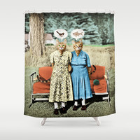 Two Cool Kitties: What's for Lunch? Shower Curtain by Peter Gross